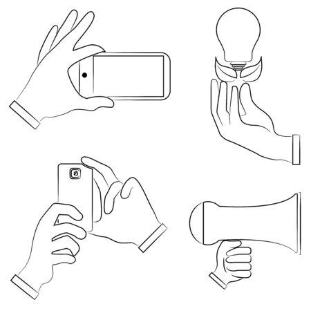 gestures: sketch hand gestures set