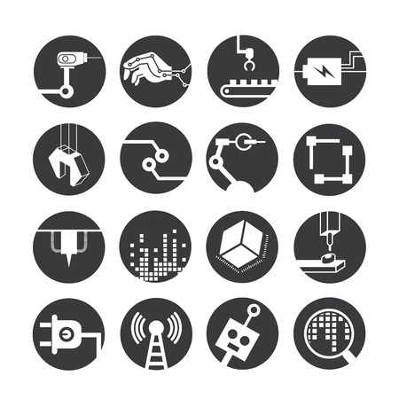 manufacturing: automated robot icons, industry icons