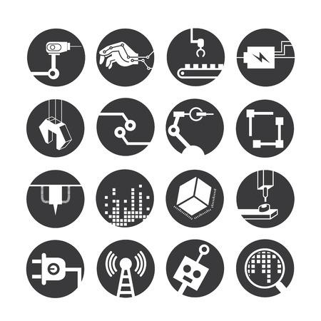 Iconos de robots automatizados, iconos de la industria Foto de archivo - 43295678