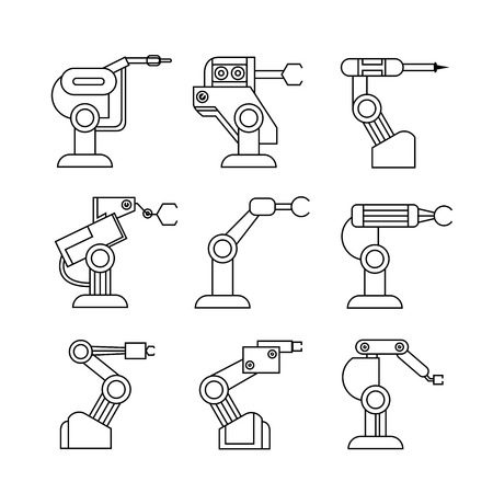 robot arm: robot arm icons, line icons