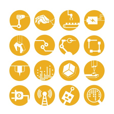 manufacturing equipment: industrial automated robot icons, yellow buttons Illustration