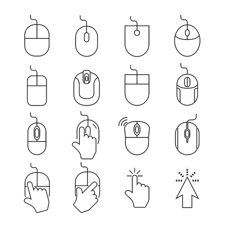 interaction: computer mouse icons Illustration