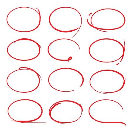 Surligneur rouge, cercles rouges Banque d'images - 43280072