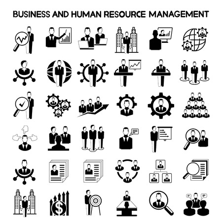 human resource affairs: business and human resource management icons Illustration