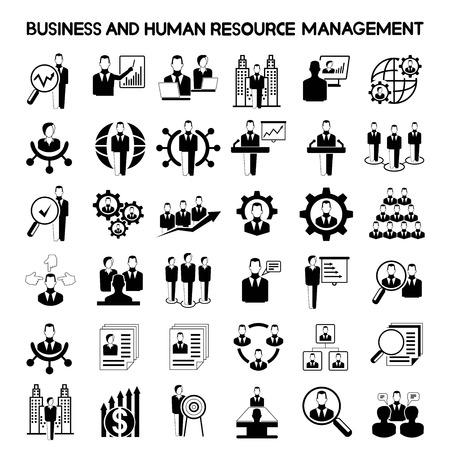 recursos humanos: los negocios y los iconos de gestión de recursos humanos Vectores