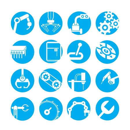 technician: automated robot icons, industry icons, blue buttons