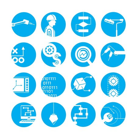 industry icons: automated robot icons, industry icons, blue buttons