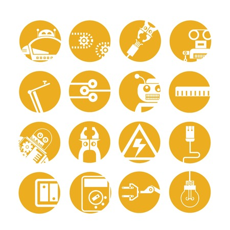 ruler: industrial automated robot icons, yellow buttons Illustration