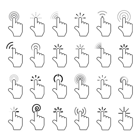 click icons, hand click icons Stock Illustratie