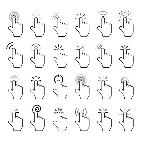 click: klik iconen, met de hand klik pictogrammen Stock Illustratie