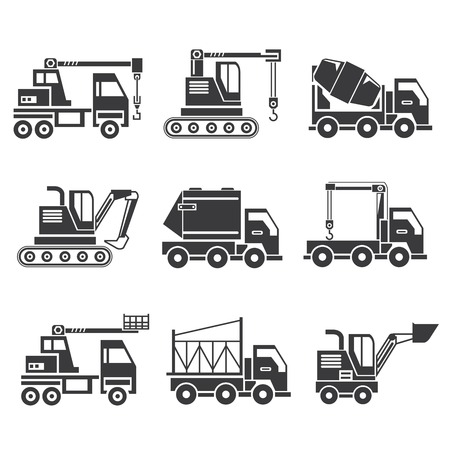 road grader: construction machinery icons, truck icons