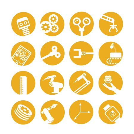 automated: industrial automated robot icons, yellow buttons Illustration