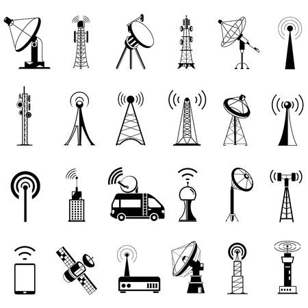 коммуникация: связи башня иконы, спутниковые тарелки, антенны Иллюстрация