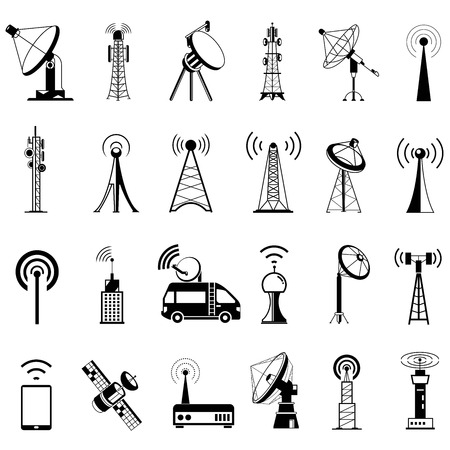 internet radio: communication tower icons, satellite dishes, antenna Illustration