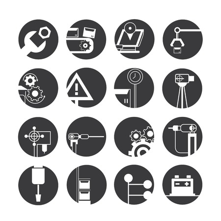 engineering icon: automated robot icons, industry icons