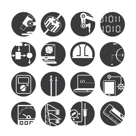 lab technician: automated robot icons, industry icons