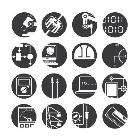 balanza de laboratorio: iconos de robots automatizados, iconos de la industria