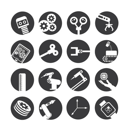 automated: automated robot icons, industry icons