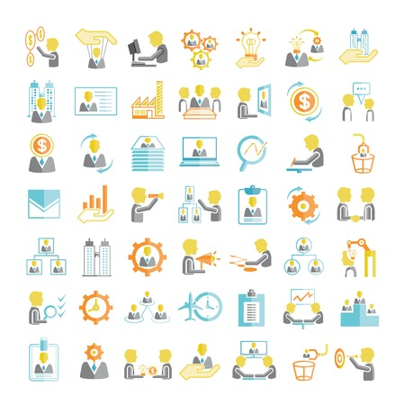 human resource affairs: office, business management icons, flat icons