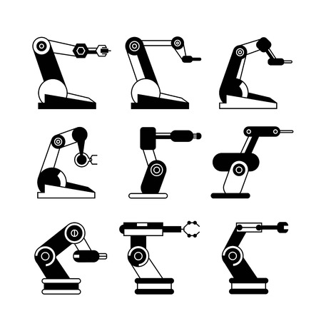 factory automation: robotic arm icons