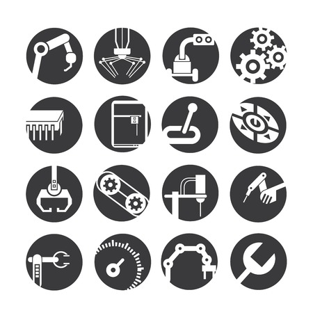 industry icons: automated robot icons, industry icons