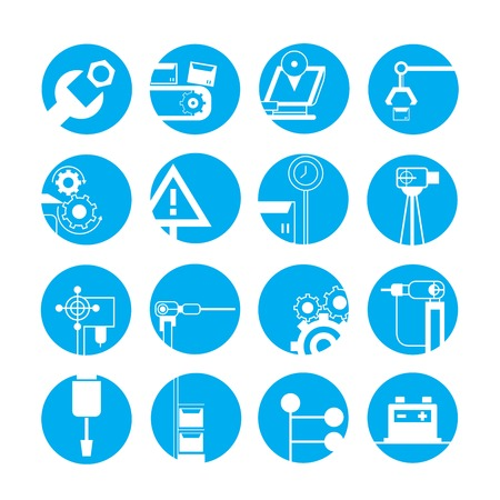 blue buttons: industrial automated robot icons, blue buttons
