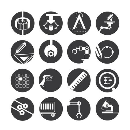 engineering design: automated robot icons, industry icons