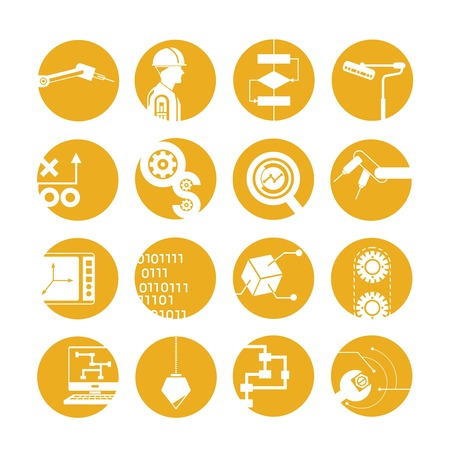 automated: automated robot icons, industry icons, yellow buttons