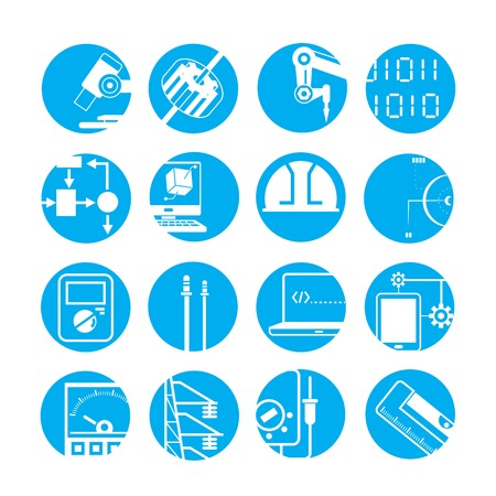 digital printing: automated robot icons, industry icons, blue buttons