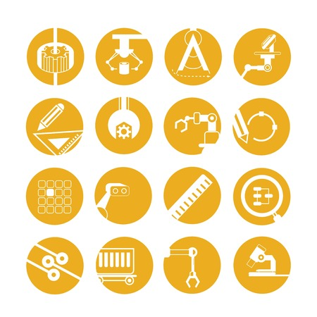 robot arm: industrial automated robot icons, yellow buttons Illustration