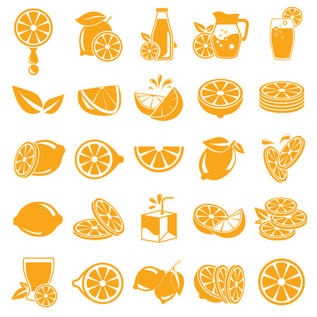 orange juice: orange icons, lemon icons Illustration