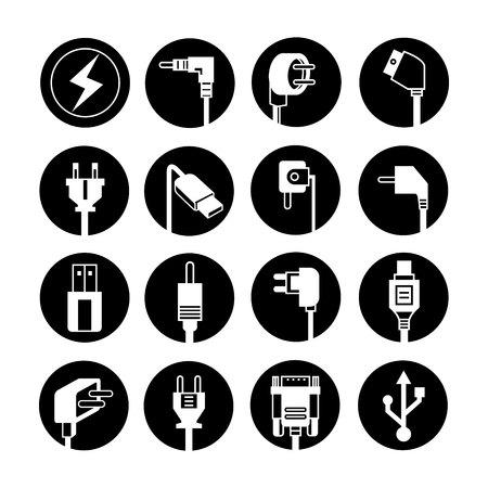 sound off: electric plug icons Illustration