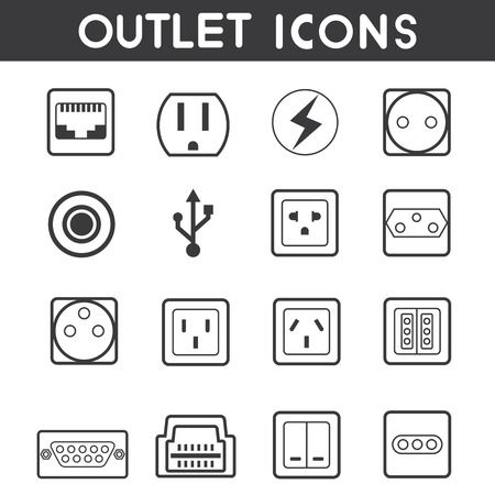 electric outlet: electric outlet icons