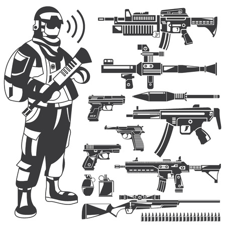 invasion: commando, policeman, gun, weapon icons