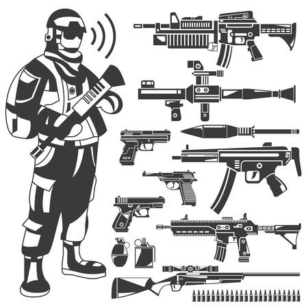 commando: commando, policeman, gun, weapon icons