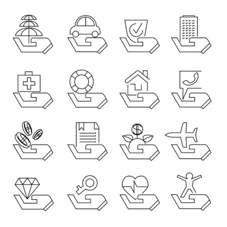 securing: insurance icons Illustration