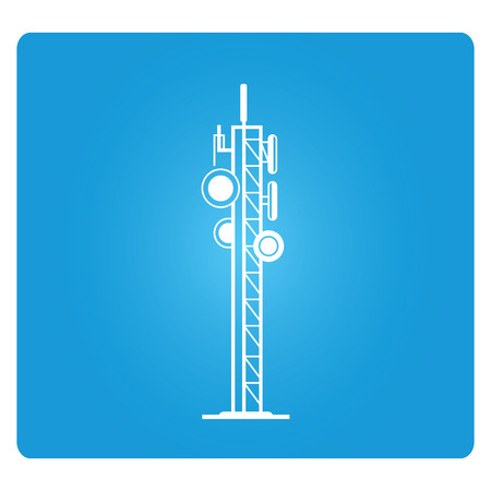 cell phone transmitter tower: communication tower Illustration