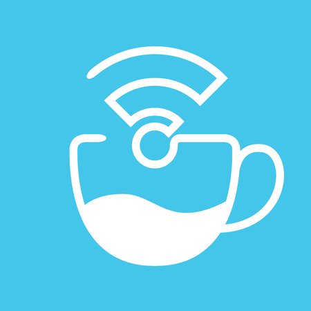 symbol icon: coffee and free wifi