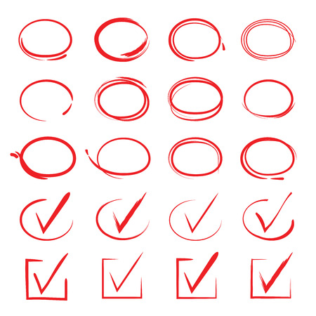 pens: red highlight pen circle and check marks