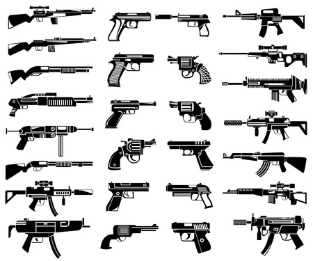 gun iconen, machinegeweer pictogrammen Stock Illustratie