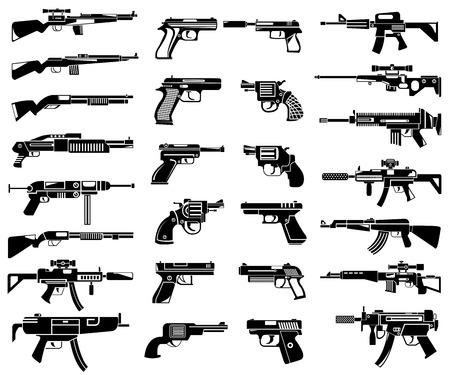 pistolas: iconos del arma, iconos ametralladora Vectores