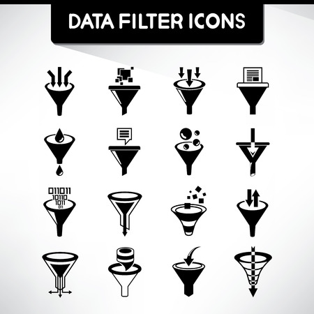 iconos de filtro de datos Ilustración de vector