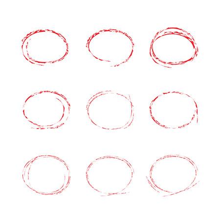 describe: red grunge circle set Illustration