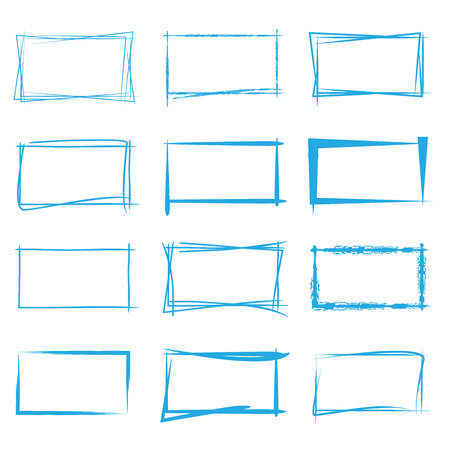 hand drawn: blue sketch frame