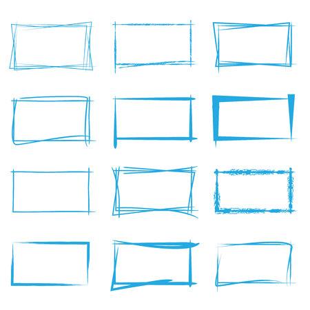 cuadrados: marco azul bosquejo Vectores