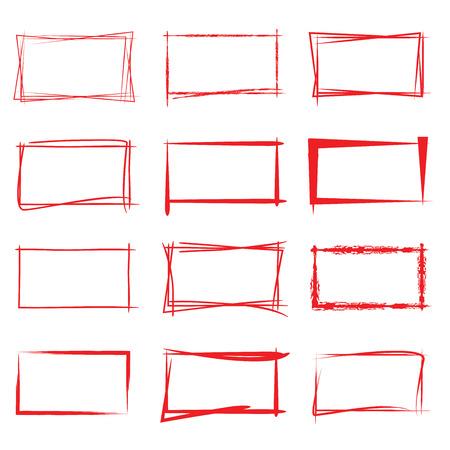 grunge frame: red frames Illustration