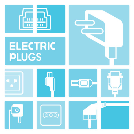outlet: electric plug icons Illustration