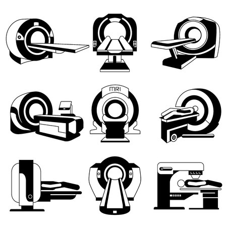 MRI scanner, CT scanner icons set