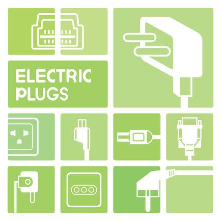 electric plug: electric plug icons Vettoriali