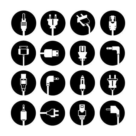electronic devices: electric plug buttons Illustration